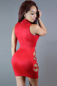 Sexy Hot Red Cut out Mock Neck Club Dress
