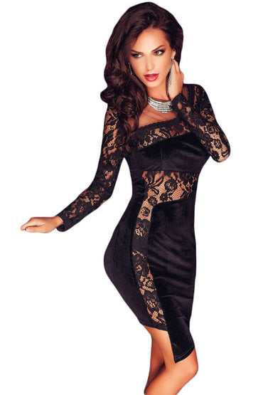Asymmetric Lace and Velvet Dress