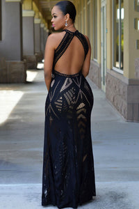 Black Lace Nude Illusion Key-Hole Back Maxi Dress