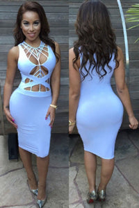 White Daring Strappy Cutout Body-conscious Club Dress