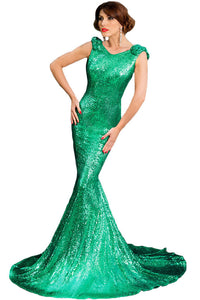 Green Full Sequin Big Bow Accent Party Dress