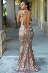 Blush Sequins Keyhole Back Party Gown