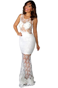White Floral Mesh Lace Overlay Sleeveless Party Dress