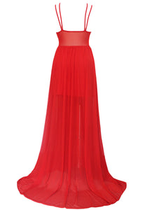 Hot Red Sheer Illusion Flared Evening Dress