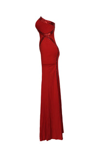 Red Sequin Trim Jersey Gown