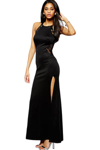Black Lace Splicing Maxi Evening Dress