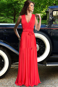 Red Belted Cross Back Maxi Party Dress