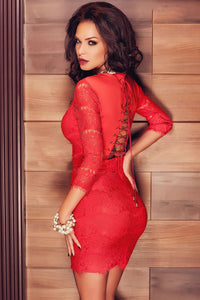 Lace-up Back Sleeved Lace Mini Party Dress
