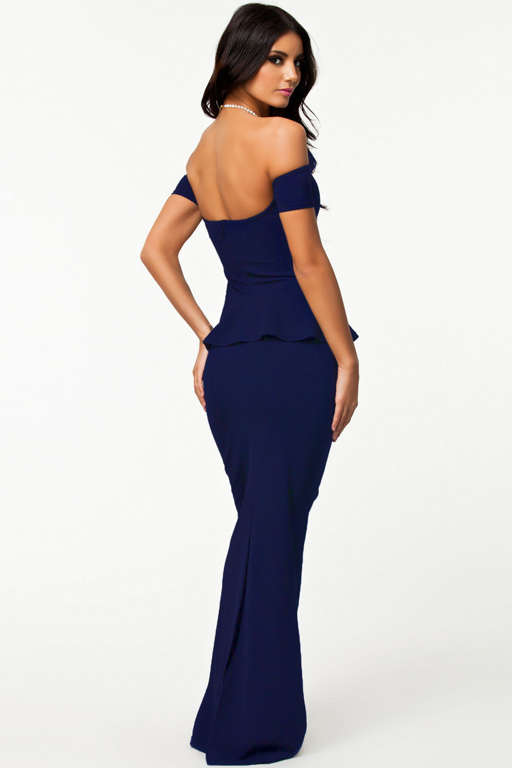 acc6d6683a2 Blue Peplum Maxi Dress With Drop Shoulder – SEXY AFFORDABLE CLOTHING