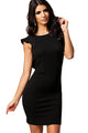Noble Black Textured Bodycon Dress with Ruffled Backless