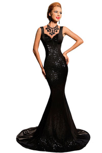 Black Sequined Backless Bow Detail Evening Mermaid Dress