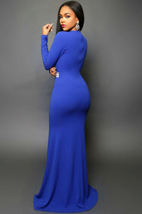 Hollywood Royal Blue Jeweled Waist Front Slit Gown