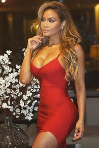 Red Slit Thigh Bandage Dress