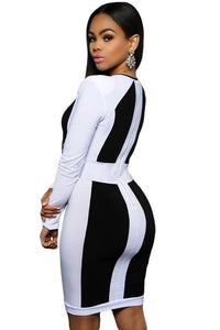 Black White Color Block Long Sleeve Midi Dress