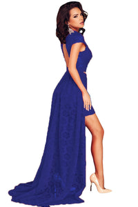 Short Royal Blue Lace Dress with Train