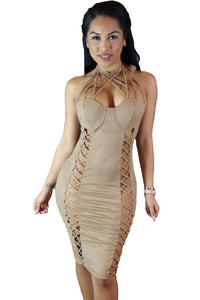 Sassy Nude Suede Caged Design Dress