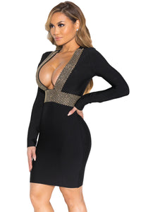 Gold Hardware Deep V Neckline Bandage Dress in Black
