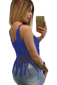 Blue Lacy Crochet Cropped Vest Top