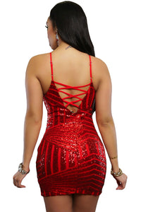 Red Sequin Cross Straps Back Club Dress