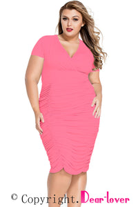 Rosy Pleated Curvaceous Midi Dress