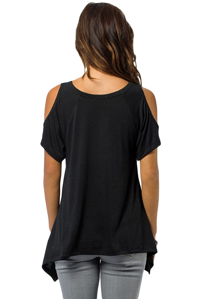f2a4bc13b312c Sexy Black V Neck Cold Shoulder Swing Top – SEXY AFFORDABLE CLOTHING