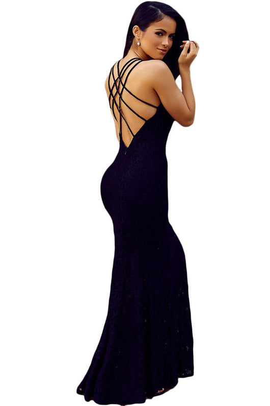 Triple Straps Cross Back Maxi Lace Dress