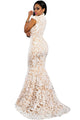White Sequin Lace Nude Mermaid Gown