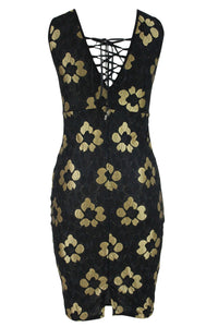 Golden Embroidered Black Floral Dress