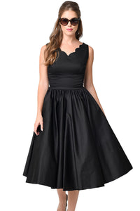 Black Scallop Neck Cinched Waist Ladylike Vintage Dress