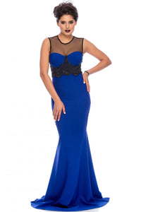 Mesh Splice Beaded Royal Blue Evening Dress