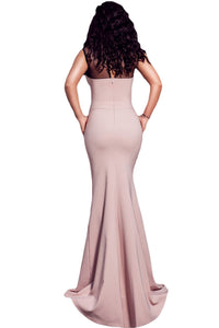 Mesh Splice Beaded Pink Evening Dress