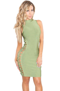 Green Lace up Contour Bandage Dress