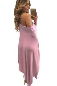 Pink Strapless Asymmetric Drape Club Dress