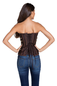 14 Steel Bones Brown Steampunk Corset with Thong