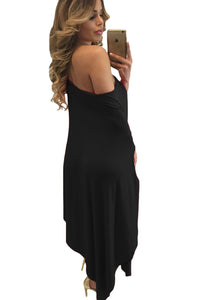 Black Strapless Asymmetric Drape Club Dress