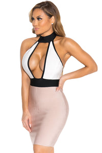 Halter Sleeveless Cut out Backless Nude Customize Bandage Dress
