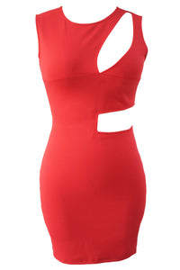 Red Asymmetric Cutout Sexy Mini Club Dress