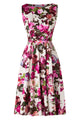 Elegant Sleeveless Party Floral Flare High Waist Vintage Dress