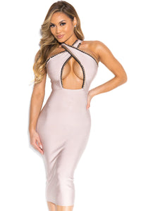 Apricot Cross Neck Gold Chain Trimmed Hollow-out Bust Bandage Dress