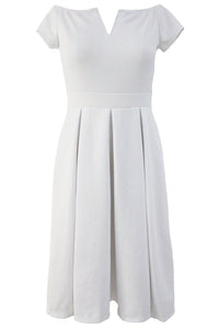 Solid White Thick Flare Midi Vintage Dress