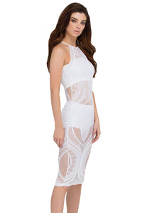 White Net-working Sheer Bodycon Midi Dress