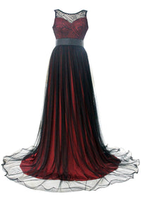 Sheer Lace Mesh Overlay Burgundy Queen Party Gown