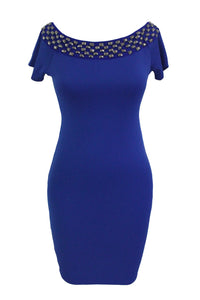 Studded Off Shoulder Blue Short Sleeve Bodycon Dress