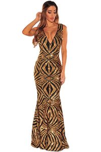 Black Gold Sequins Gown
