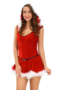 Soft Fur Trim Red Santa Teddy and Skirt Costume