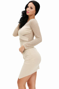 See-through Crochet Patchwork Long Sleeve Bodycon Dress