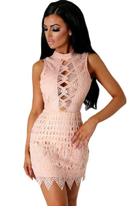 Nude Crochet Cut out Mini Dress