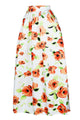 Orange Flower African Print Maxi Skirt