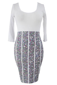 Half Sleeve O Neck Starlet Skirt Patchwork Bodycon Dress