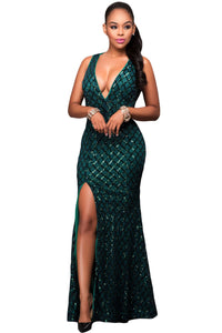 Green Gold Diamond Sequins Key-hole Back Slit Gown
